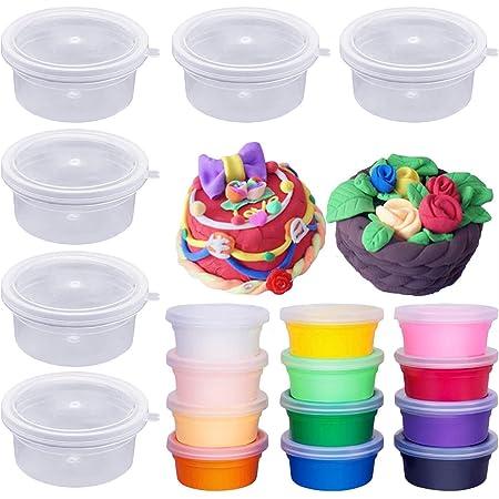 Bogoro 12 pcs Conteneurs de Stockage avec Couvercle Boîtes de Rangement pour Slime avec Couvercles Anti-fuites en Plastique Transparent Récipients de Stockage réutilisables