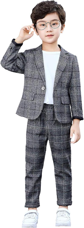 Boys Plaid Blazer Pants Set Casual Suit Classic Kids 2...