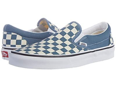 Vans Classic Slip-Ontm ((Checkerboard) Blue Mirage/True White) Skate Shoes