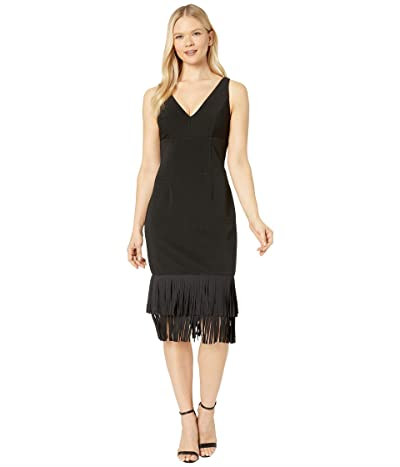 Adrianna Papell Ottoman V-Neck Fringe Dress (Black) Women