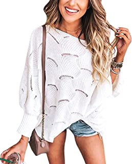 Women Sweater Oversized Lantern Sleeve Jumper Irregular Wave Hem Knitted Pullover Sweaters Casual Loose Tops