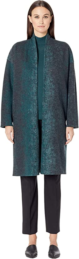 Oxidized Wool Jacquard Kimono Coat with Side Slits