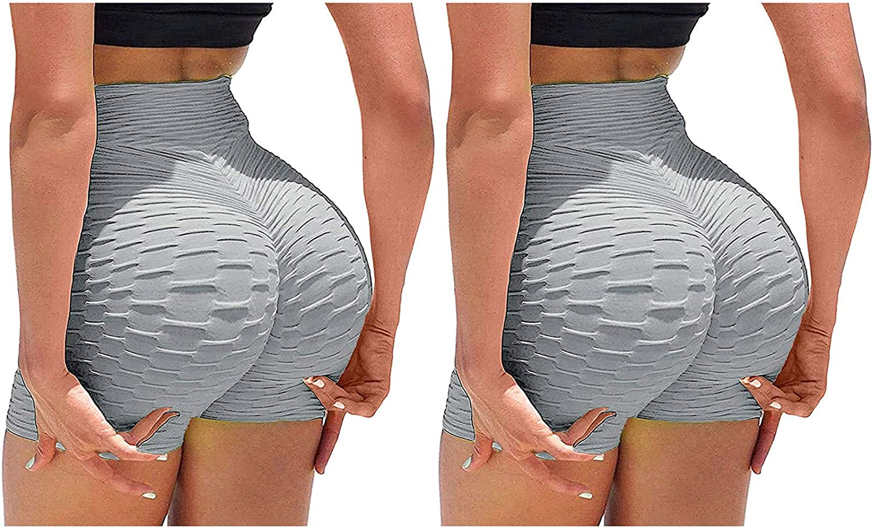 2 Pack Biker Shorts for Women,High Waisted Yoga Shorts for Women Tummy Control Leggings Butt Lifting Workout Shorts