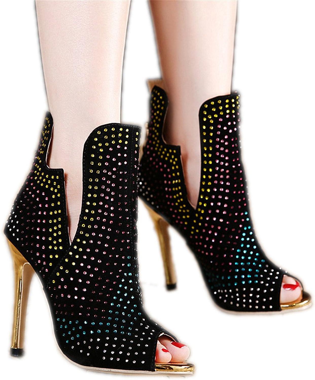 Anzhuangh Black Wedding Pumps Sexy Fashion Rhinestones Boots peep Toe Platform high-Heeled Pump shoes Wedding shoes Bride Dress high Heels