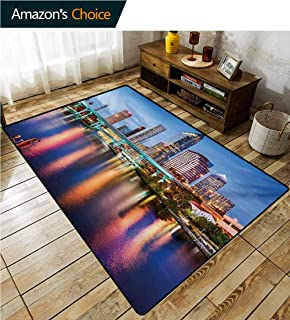 City Over Sized Area Rug Kids Girl, Hillsborough River Tampa Florida USA Downtown Idyllic Evening at Business District Fashionable High Class Living Dinning Room, (2.5'x 7') Multicolor