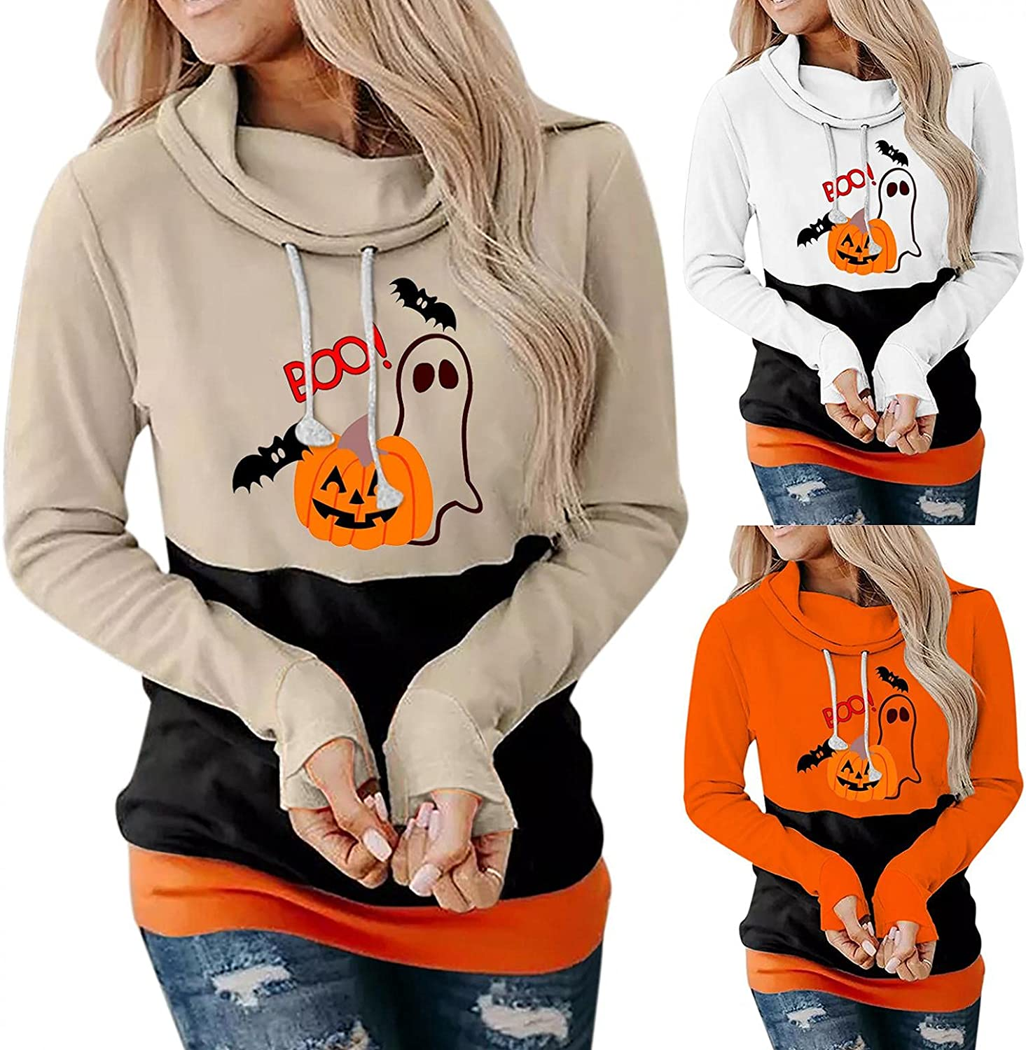 Lingbing Halloween Hoodies for Women Funny Cute Pumpkin Ghost Graphic Tops Fashion Color Block Sweatshirts Fall Blouses