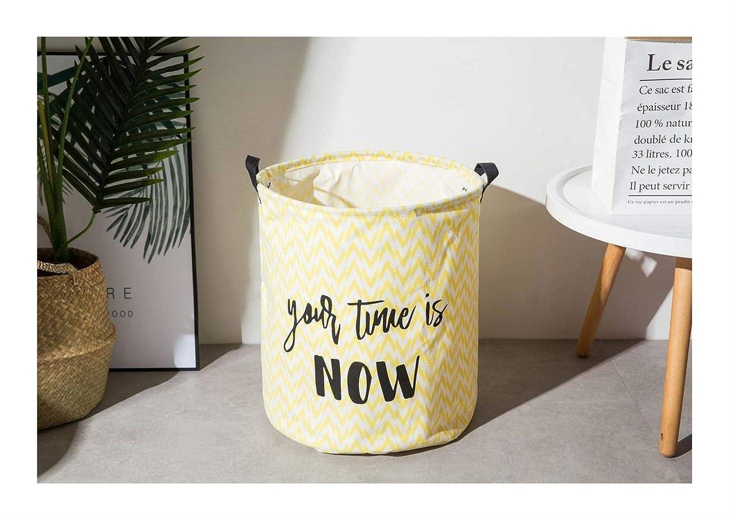 ストライプ絶縁する蓮Guomao 幾何学的な収納箱折り畳み式の綿とリネンの服家居家庭のゴミ収納ボックス (色 : イエロー)