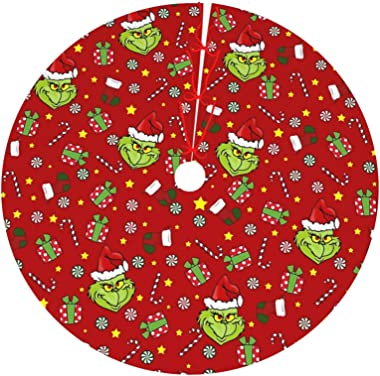 Harataki The Gr-inch St-ole Christmas Christmas Tree Skirt Xmas Holiday Tree Skirts for Halloween Christmas Party Decorations