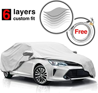 Heavy Duty Waterproof Windproof 6 Layers Camry Car Cover for Toyota Camry 2010-2017,All Weather Dustproof Scratch Proof Car Covers for Camry, Free Windproof Ribbon & Anti-theft Lock