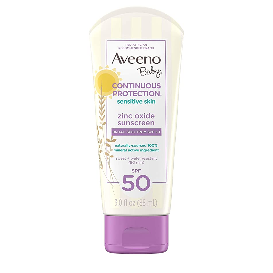 Aveeno Baby Continuous Protection Zinc Oxide Mineral Sunscreen Lotion For Sensitive Skin With Broad Spectrum SPF 50, Tear-Free, Sweat- & Water-Resistant, Travel-Size, 3 Fl Oz