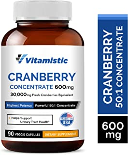Sponsored Ad - Vitamistic Organic Cranberry 50:1 Whole Fruit Concentrate 600mg, 90 Veggie Capsules, Equivalent to 30,000mg...