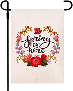 Yileqi Spring is Here Flower Wreath Garden Flag Double Sided, Burlap Seasonal Spring Yard Flag 12.5 x 18 Inch Outdoor Deco...