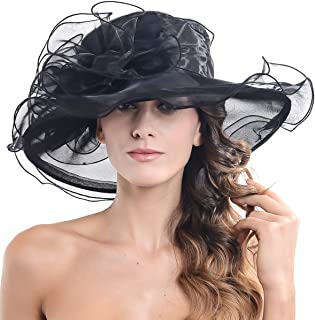 Women Church Kentucky Derby Hat Wedding Bridal Shower Organza Wide Brim Hat