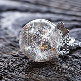 Dandelion necklace, Real Dandelion jewelry, Make a wish necklace, Dandelion seeds jewelry, dandelion wish pendant, Hypoallergenic and non-tarnish stainless steel chain 20