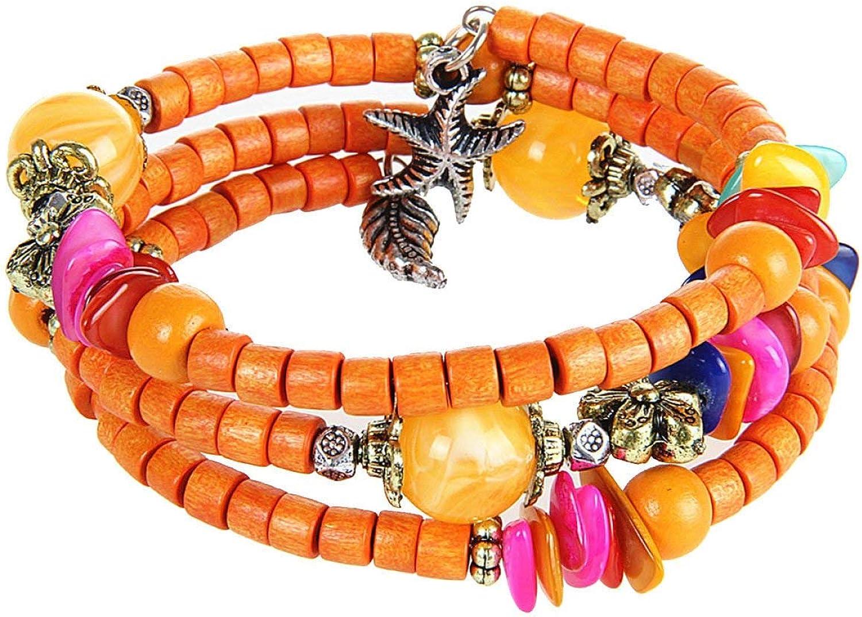 Zicue Stylish Charming Bracelet Exquisite Ornaments Seeds Wooden Bracelet Female Models Wooden Beads Bracelet Spring Multilayer Multicolor Female ( color   orange , Size   One Size )