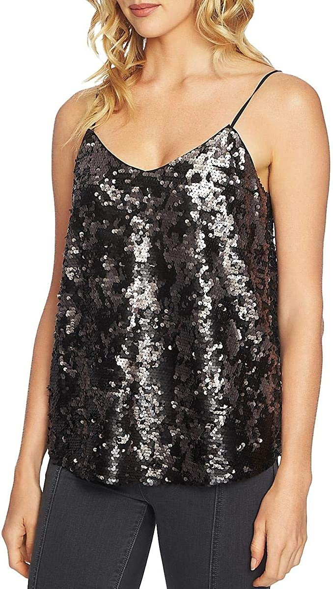 1.STATE Womens Sequins Cami Tank Top