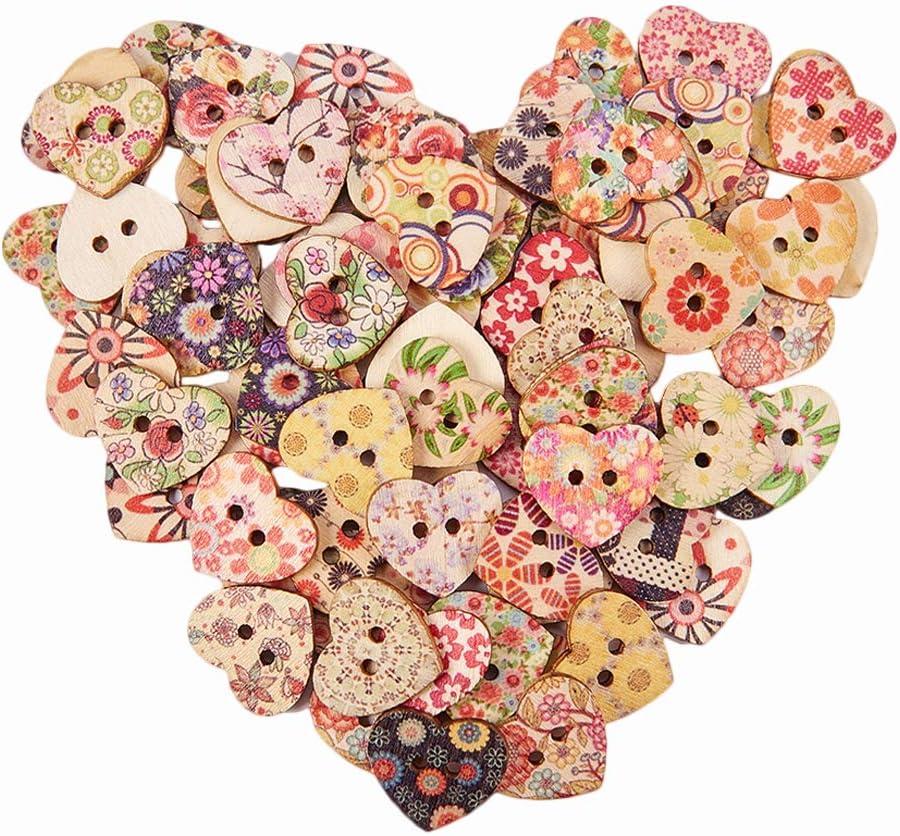 25 mm de ancho agujero: 2 mm alrededor de 23 mm de largo botones de madera colores mezclados PandaHall 1 bolsa de botones en forma de coraz/ón con 2 agujeros 100 piezas//bolsa
