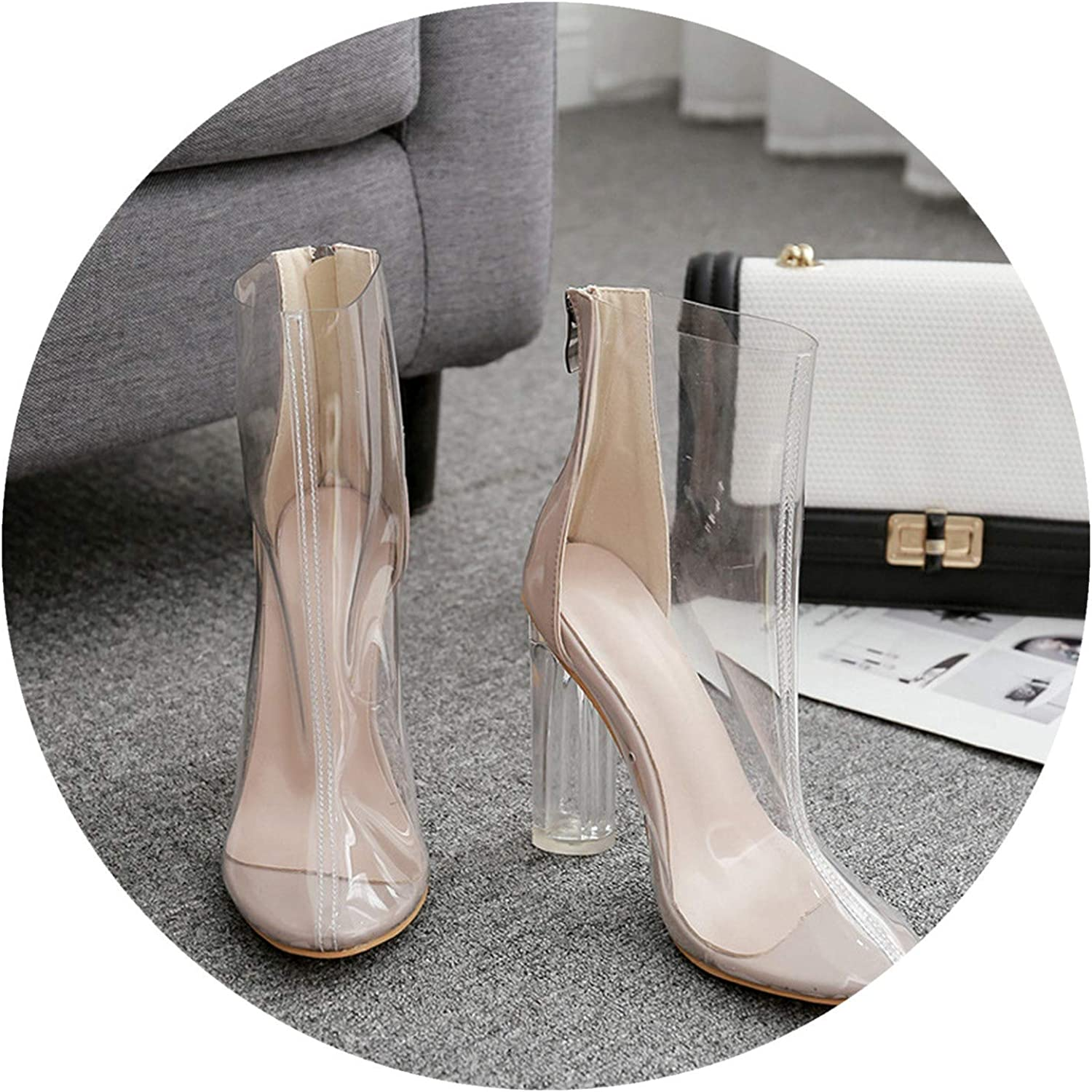 Transparent shoes European and American Style High Heel Thick with Breathable Crystal and Fairy Female Sandals