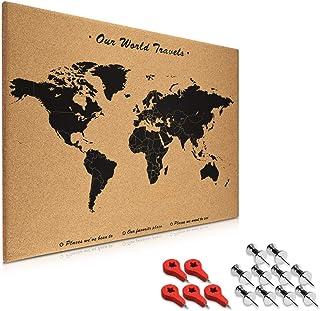 Navaris tablero de notas de corcho - Tablero con mapa del mundo de 70x50CM - Pizarra mapamundi de corcho - Con set de montaje y chinchetas de banderas