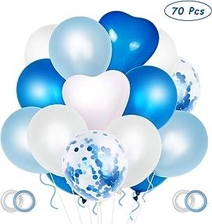 ZWOOS Globos Azules y Blancos, 70 Piezas Globos de Cumpleaños Baby Shower Niño Globos Frozen Globos Confeti para Niño Bautizos Comunion Bodas Aniversario Graduacion Fiesta Arco Decoracion