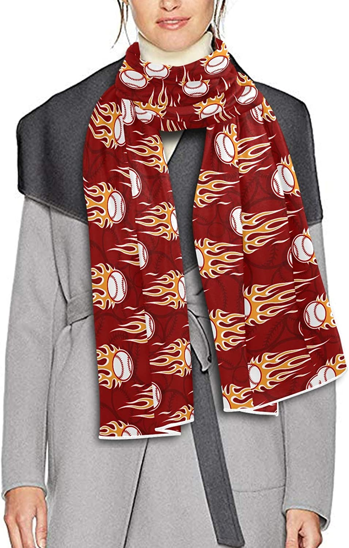 Scarf for Women and Men Softball Balls Baseball Fire Blanket Shawl Scarf wraps Warm soft Winter Long Scarves Lightweight