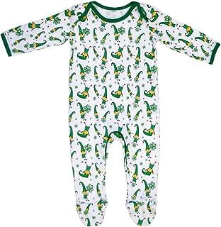 White and Green Ireland Leprechaun and Shamrock Baby Romper Pajamas