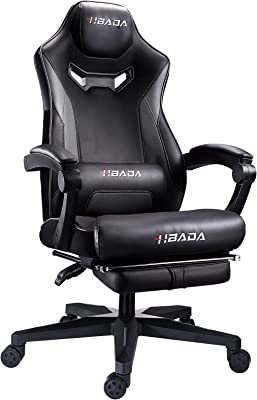 Hbada Gaming Chair Ergonomic PC Gaming Chair Racing Style Computer Chair with Padded Armrest, Headrest and Lumbar Support Recline Chair with Height Adjustable seat, Swivel Caster and Footrest, Gray