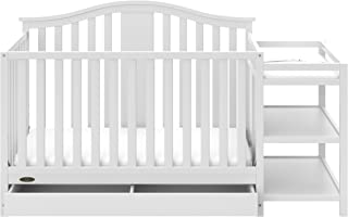 Graco Solano 4-in-1 Convertible Crib and Changer with Drawer White, Fixed Side Crib, Solid Pine and Wood Product Construction, Converts to Toddler Bed Day Bed or Full Bed (Mattress Not Included)