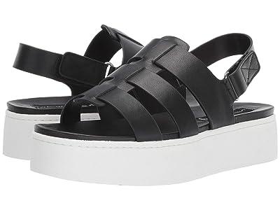 Steven Ginny Wedge Sandal (Black Leather) Women