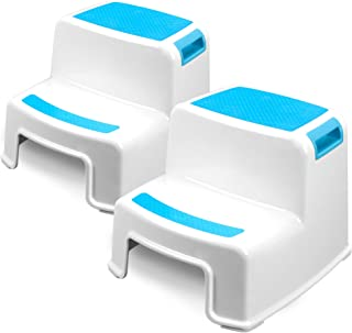 Two Step Kids Step Stools - 2 Pack, Blue - Child, Toddler Safety Steps for Bathroom, Kitchen and Toilet Potty Training - N...