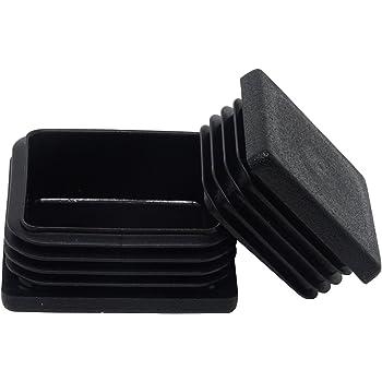 4 tapas para tubos cuadrados dimensiones exteriores 45x45 mm negras