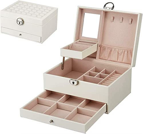 wholesale labworkauto Jewelry Box discount Organizer Leather Display Case with sale Mirror Gift for Women Girls White outlet online sale