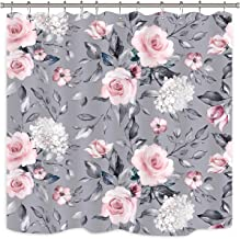 Riyidecor Floral Shower Curtain Vintage Blossom Flower Pink White Blooming Roses Grey Background Spring Leaves Garden Plants Fabric Waterproof Home Bathtub Decor 12 Pack Plastic Hook 72x72 Inch