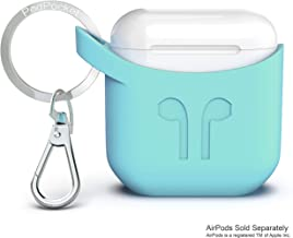 Compatible with Apple Airpod Keychain Carrying Case by PodPocket |Best Reviewed Premium Silicone & Protective Case Cover/Skin| Slides Easily into Pocket and Has Open Bottom for Charging -(Aqua Blue)