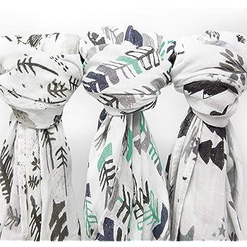 Muslin Swaddle Blankets, 3 Pack Large 47x47in Baby Blanket, Adventurer