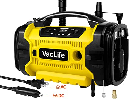 VacLife Tire Inflator, 12V DC / 110V AC Dual Power Portable Air Compressor for Car Tires & Home Inflatables, Multipurpose Tire Pressure Gauge for Inflation & Deflation, Model: LSP-16, (VL728): image