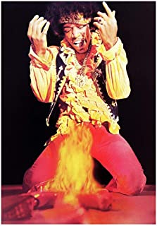 BURNING DESIRE POSTER Thick Jimi Hendrix Monterey pop Festival 1967 Guitar fire 12x18
