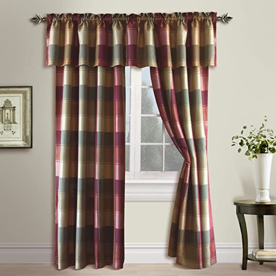 Set 2 Red Blue Plaid Patchwork Window Curtains Panels Drapes Pair 84 in Grommet