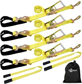 Trekassy 4 Pack 2� x 114� Car Axle Straps Ratchet Tie Downs System with Snap Hooks, 2 Free Lift Sling Straps, 3,333lbs Safe Working Load