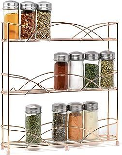 Étagère à épices et à herbes 4 étages - Rangement epices cuisine doré - Etagere a epices de qualité - Porte epices cuisine...
