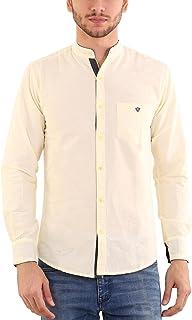 Rapphael Men's Cotton Chinese Collar Plain Yellow Color Shirt(RPL-00641)