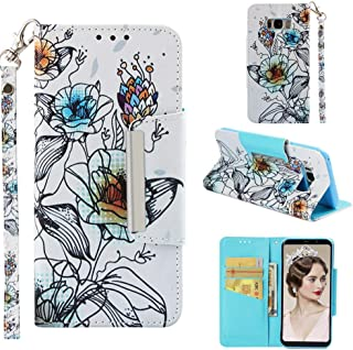 Case for Galaxy S8+/S8 Plus,Slim 3D Printing PU Leather [Kickstand] Wallet Case Card Holder Inner Soft TPU Bumper with Magnetic Closure & Wrist Strap Compatible with Samsung Galaxy S8+/S8 Plus -Lily