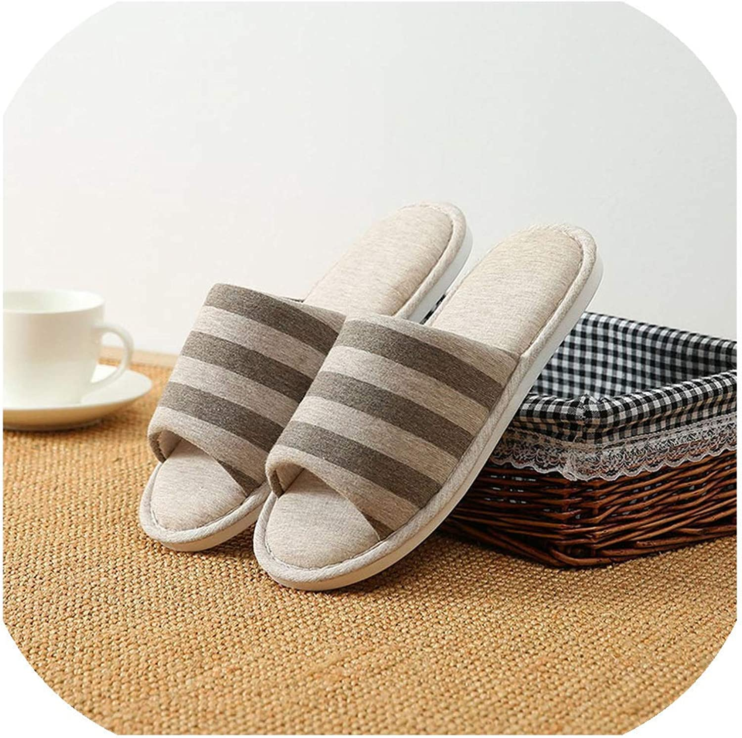 Slippers South Korea Household Slippers, Linen Slippers, Men's and Women's Antiskid Indoor Wooden Floor Slippers