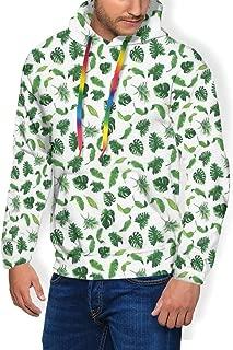 Men's Hoodie Plus Velvet Sweatshirt,Swirled Flower Petals Leaves Curved Flora Retro Blossom Pattern