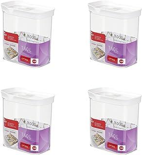 Emsa 514551 Optima Trockenvorrats-Schüttdose mit Schiebedeckel, 1,6 Liter, klar/weiß (4er Pack)