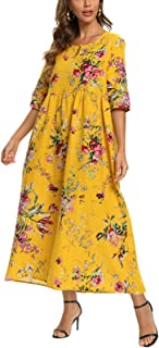 FridayIn Women's A-Line Mid-length Sleeve Summer Fashion Yellow and Flower Scoop-Neck Long Dresses