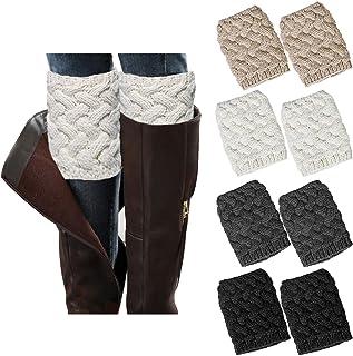 Chalier, 4 pares de calentadores de pierna para mujer, botas de invierno, calcetines de ganchillo de punto corto de arranque puños Topper calcetines regalos de Navidad