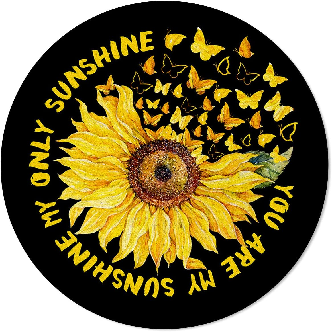 OneHoney Creative Sunflower Butterfly Art Area Animer Max 82% OFF and price revision 72In Round Rugs