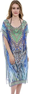 Mixed Print Long Topper, Coverup, Poncho with Rhinestone Studs