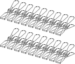 Laundry Pegs(Pack of 20), TERSELY Stainless Steel Pegs Clothes Pins , 6x2.8cm ,Metal Hanging Clips, Stainless Steel Laundr...